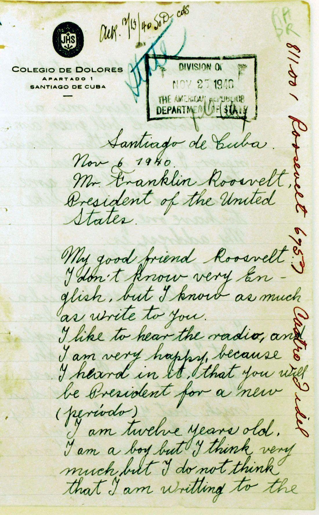 Fidel Castro Letter to FDR 1940 poster print