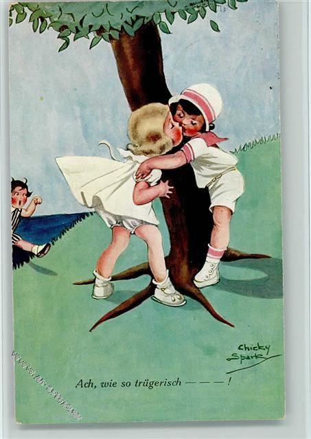 1924 Künstlerkarte Spark, Ch. Nr. 1152 - Der Kuß am Baum - Kinderpoesie: