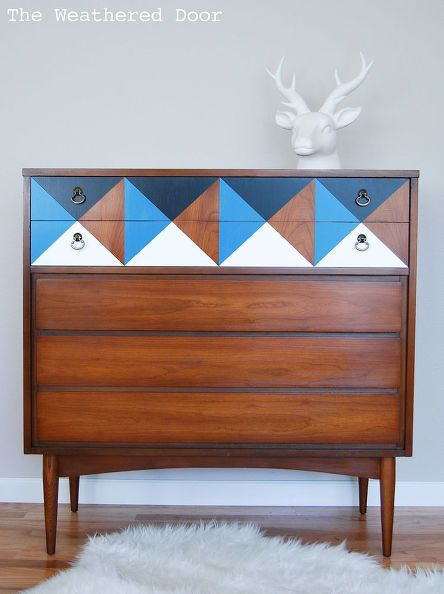 Painted geometric mid century dresser furniture painted for Furniture upcycling course