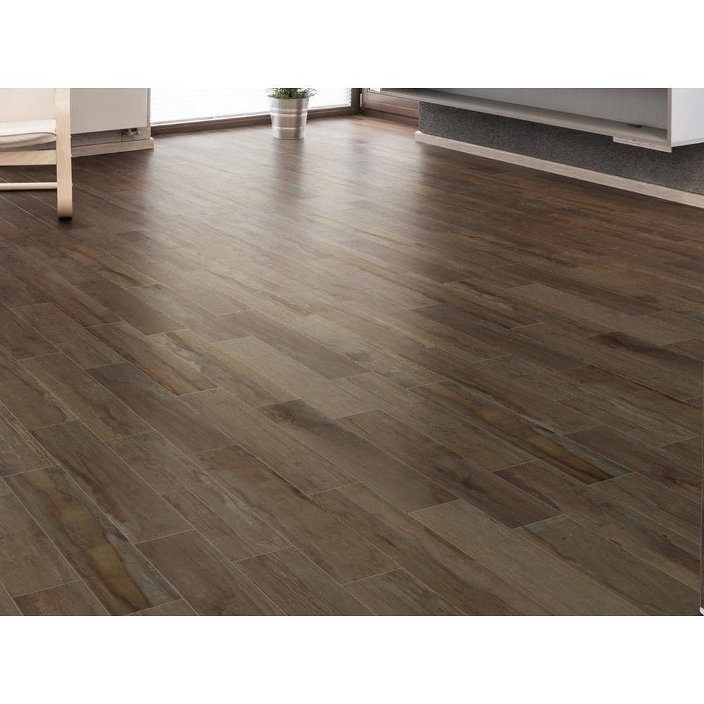 Westford Brown Wood Plank Porcelain Tile 6in X 24in 100222082
