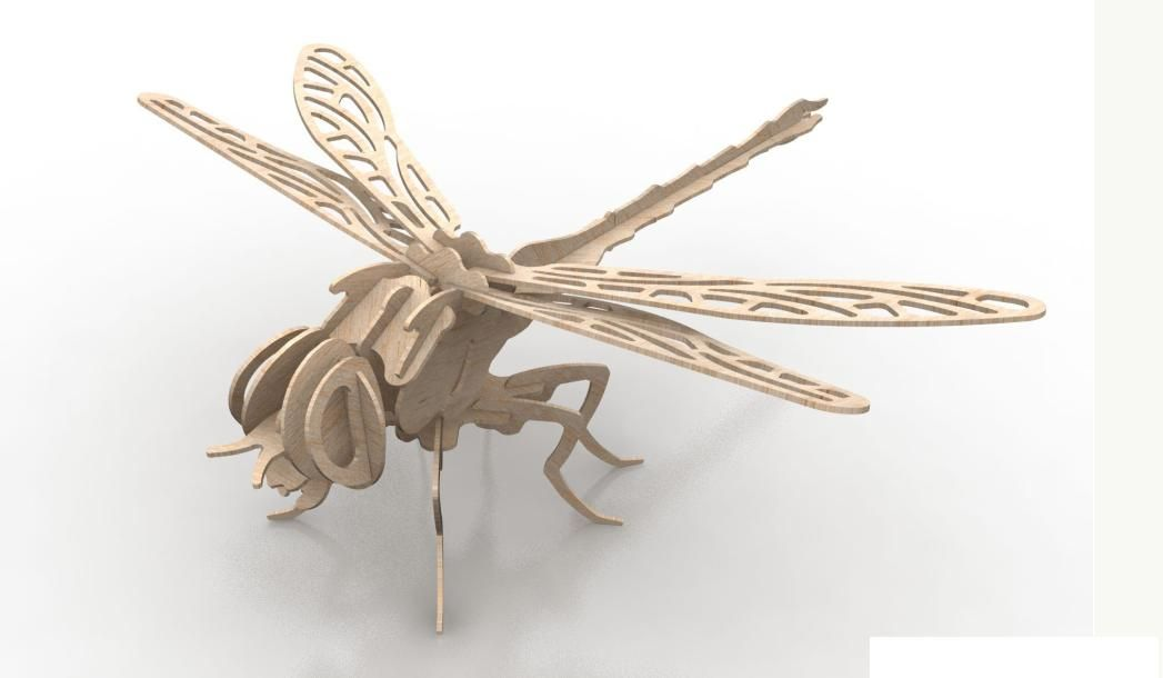 Dragonfly Insect 3D Wood Puzzle 3mm DXF File Free Download | Animals