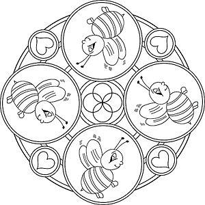 mehiläiset - mandala värityskuvia | tiere zum ausmalen, ausmalbilder, ausmalen für kinder