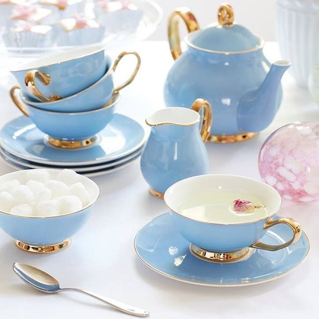 "Love My Dress™️ (weddings) on Instagram: ""Cool in blue; we love this @sophieconran tea-set available on @prezola. Their blog offers a whole host of advice for engaged couples…"" #teasets"