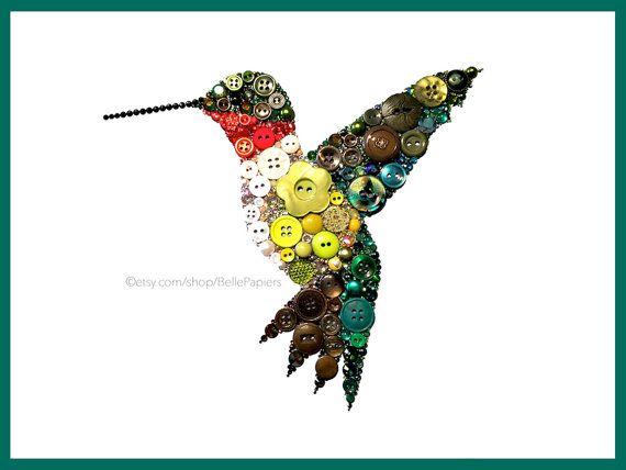 Hummingbird Decorations | Button Wall Art | Hummingbird Decor | Ruby ...