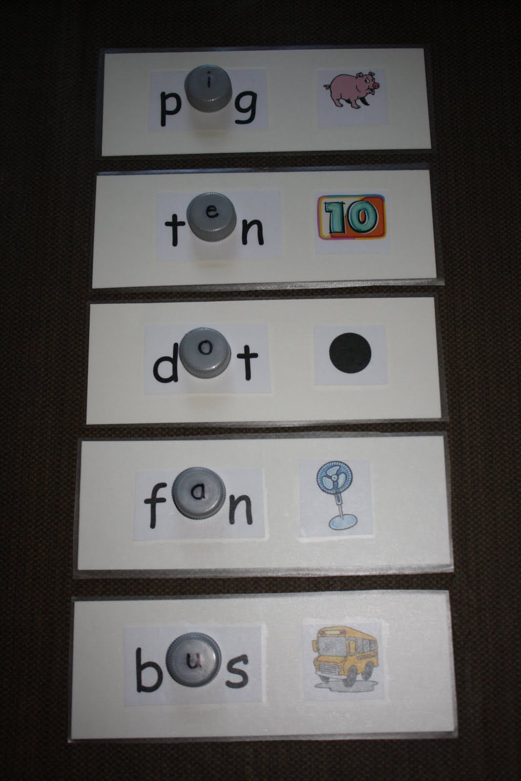 Building Cvc Words Using Bottle Caps