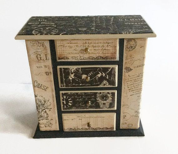 Distressed Painted Wood Jewelry Box Cream And Black Shabby Chic