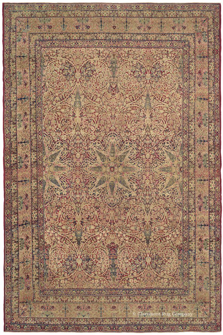Highly Inventive 160 Year Old Persian Laver Kirman Carpet This 160 Year Old Persian Carpet Exemplifies The Ri Vintage Persian Rug Antique Rugs Persian Carpet