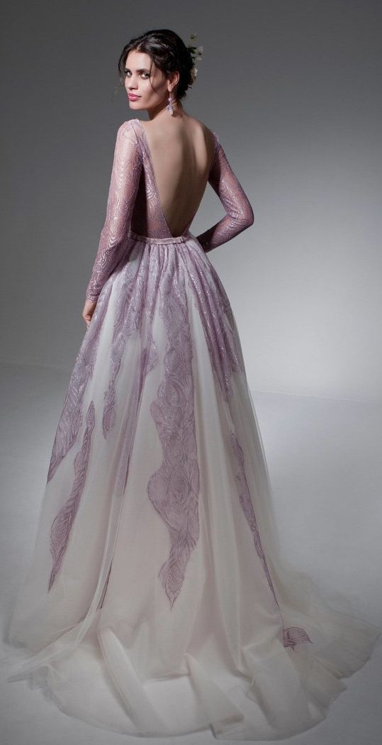 Long-Sleeve Lavender Lace Open Back Wedding Dress | Wedding Dresses ...