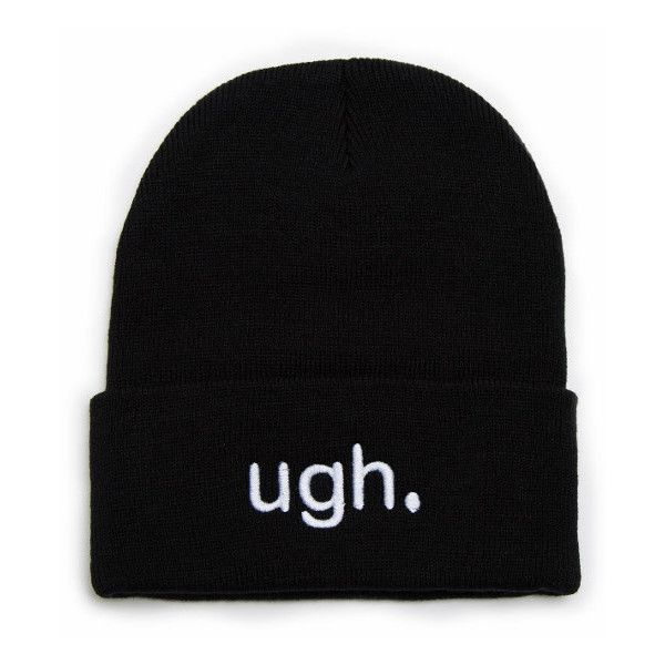 Custom Beanie With Word Ugh Embroidered Beanie Hat 20 Liked On Polyvore Featuring Accessories Hats Beanie Beanie Embroidered Beanie Beanie Hats Beanie