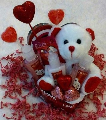 Valentine S Gift Basket Cherry Blossom Bath Body Teddy Bear
