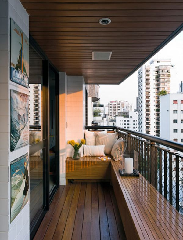 Modern Apartment Design With Wooden Balcony Located In