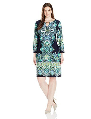 Tiana B Womens Plus Size Border Printed Jersey Dress With Keyhole