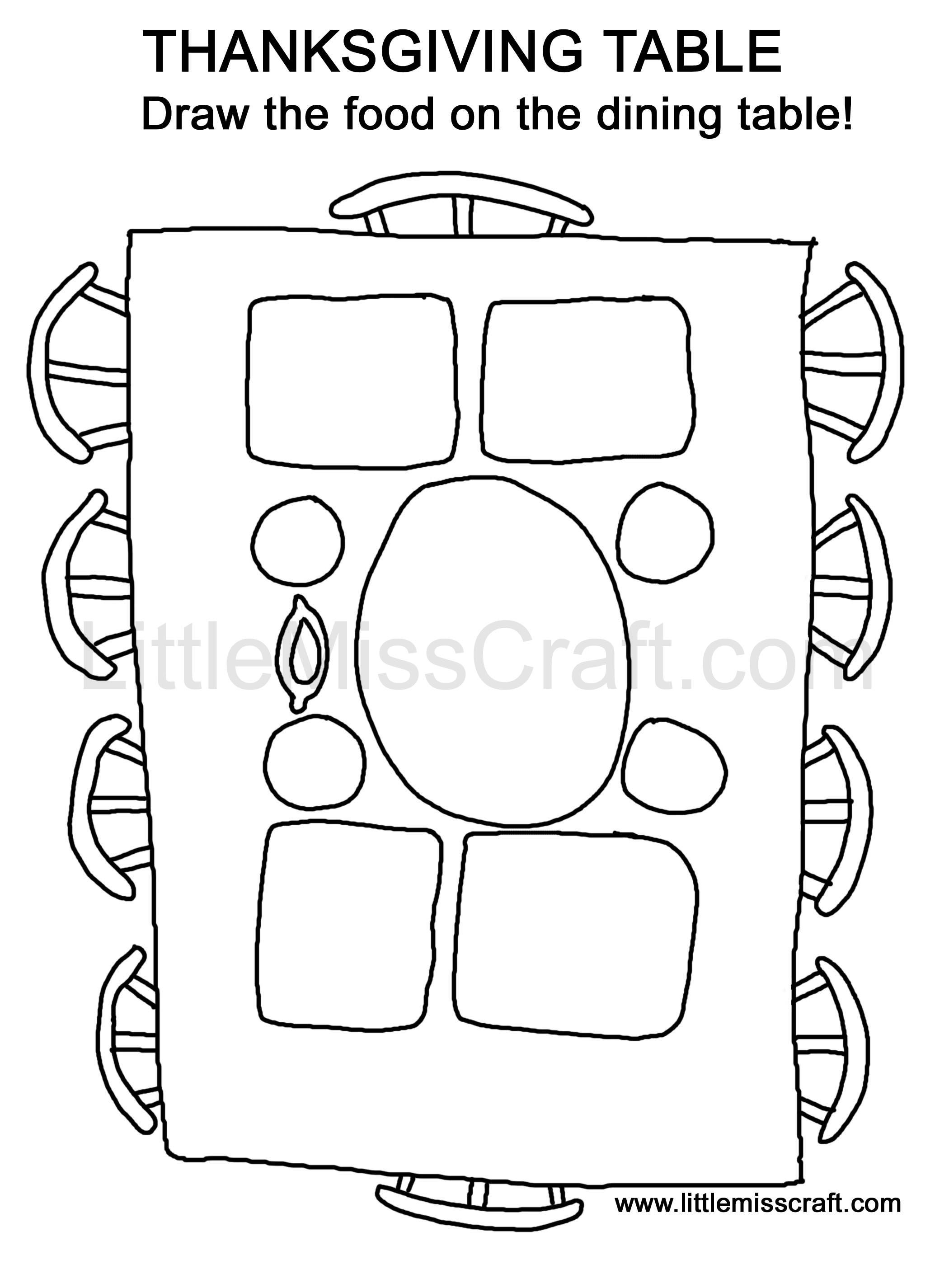 A fun thanksgiving dinner table coloring doodle activity Print at