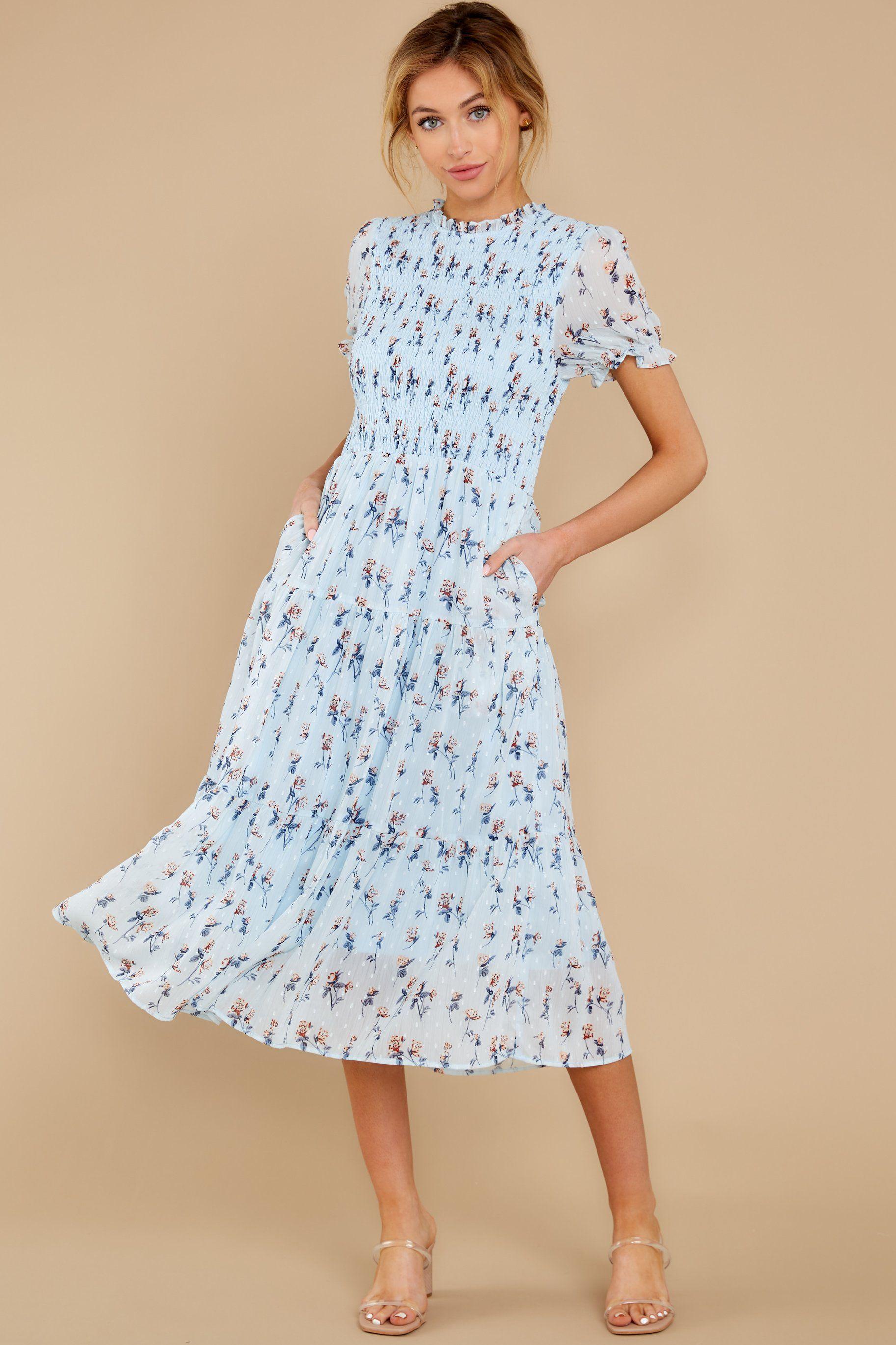 23++ Light blue floral dress info