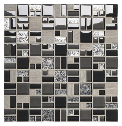 Mohawk Phase Whispering Bluff Random Block 12 X 12 Stone And Glass Wall Tile Mosaic Stone Glass Wall Wall Tiles