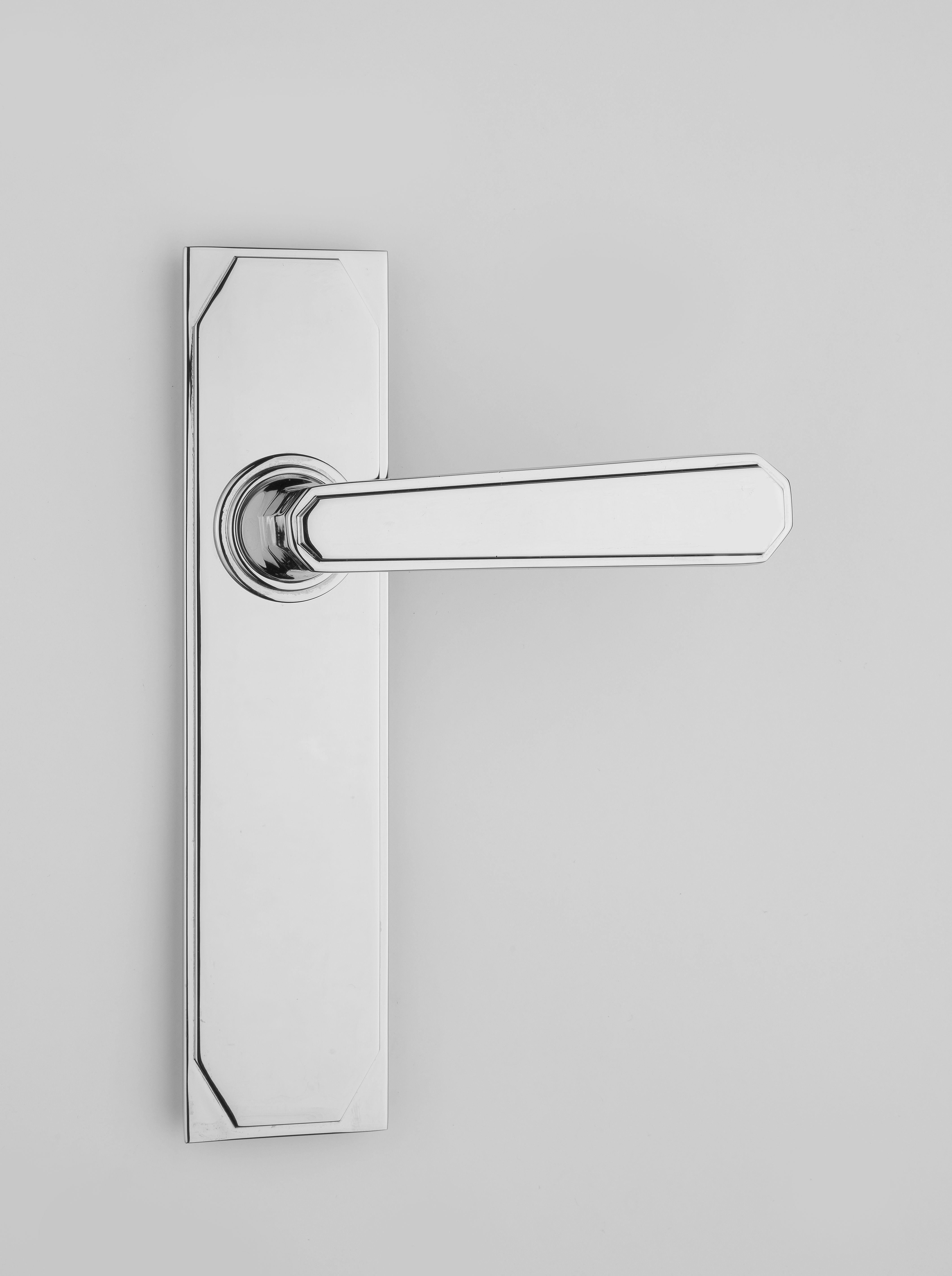 Deco Door Lever Handle On Plate Door Handles Doors Brass Door