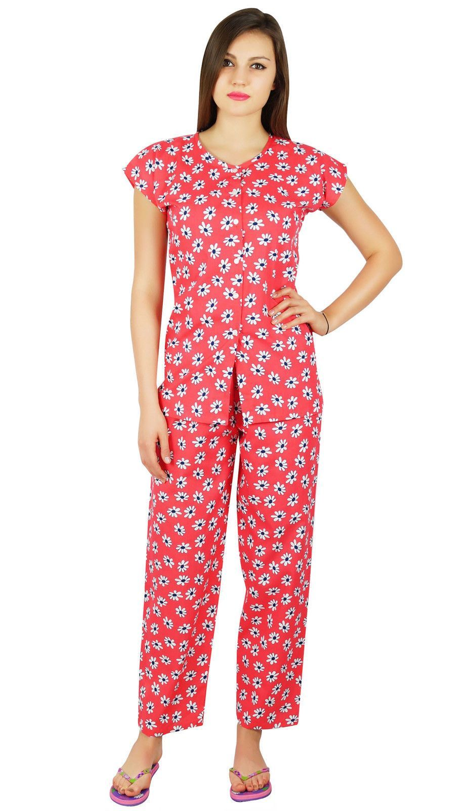 1676b6ad68 Bimba Womens Cotton Night Wear Pajama Set Short Sleeve Shirt With Pyjamas