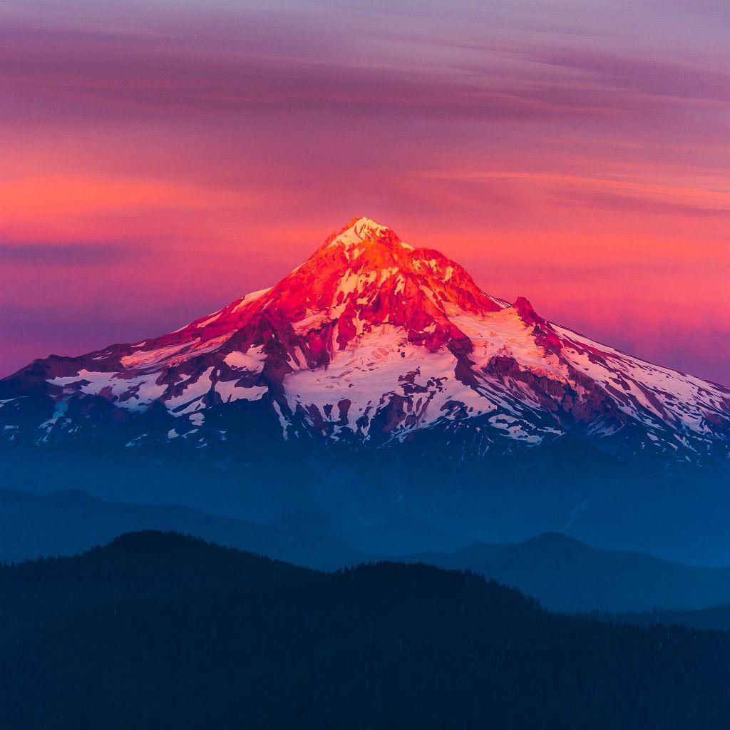 Purple Sunset Snow Mountain #iPad #wallpaper