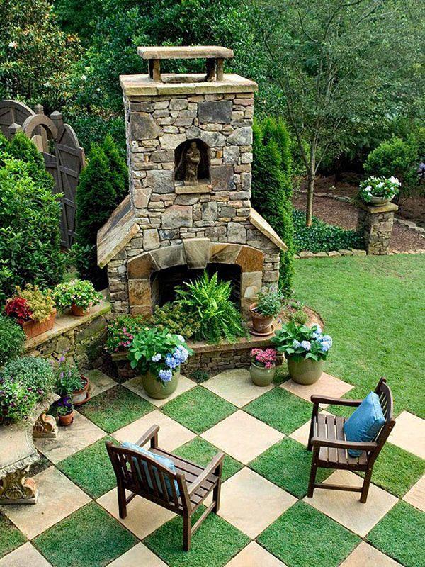 Garten selber gestalten außen kamin schachbrettmuster ...