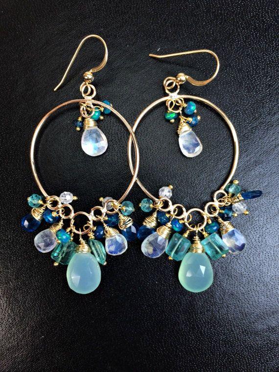 Aqua Gold Hoop Long Chandelier Earrings 14k by DoolittleJewelry