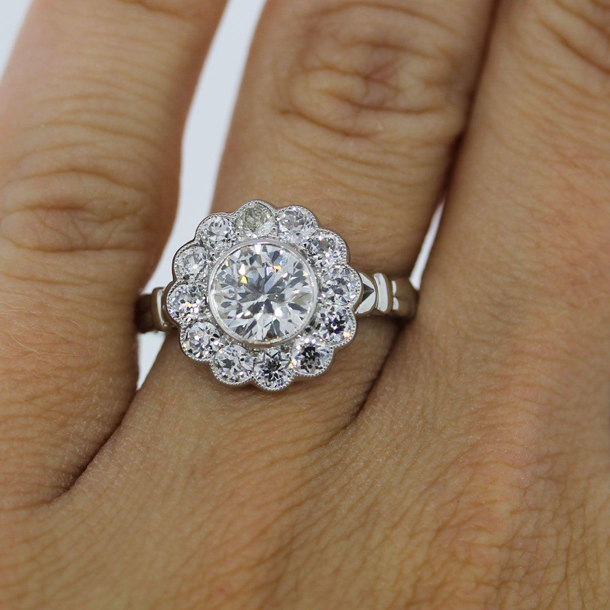 Platinum 115ct Old European Cut Diamond Flower Engagement Ring: Diamond Flower Wedding Rings At Reisefeber.org