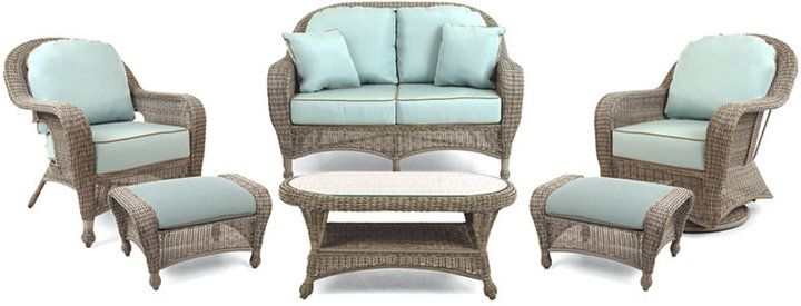 Polsterhocker Wayfair Sandy Cove Outdoor Wicker 6-pc. Seating Set (1 Loveseat, 1