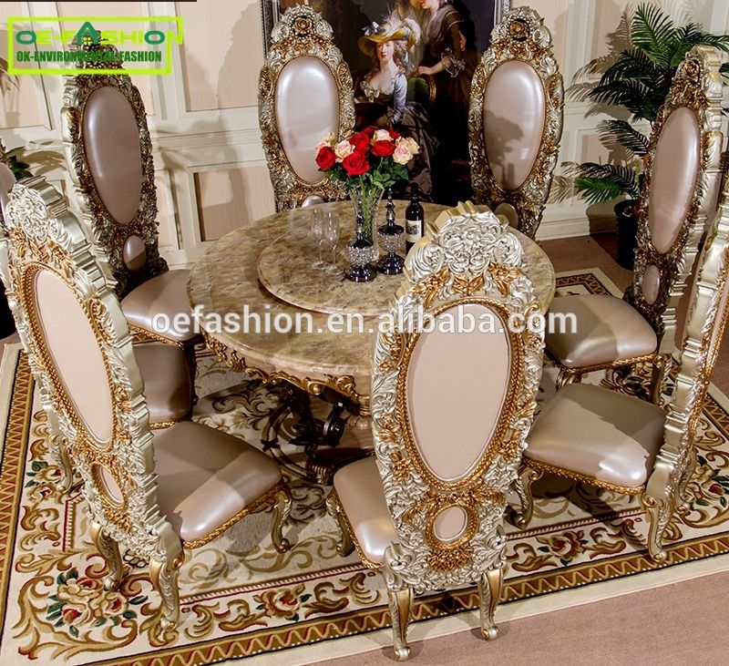 Luxury Wooden Carving Dining Furniture Tempered Marble Dining