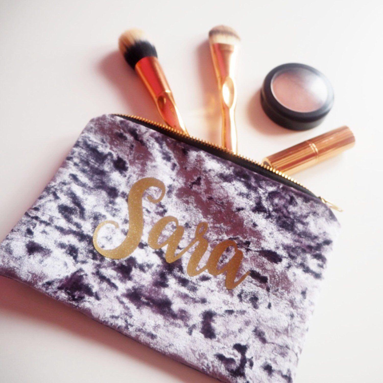 Custom Velvet Makeup Bag, Personalised Toiletry Bag