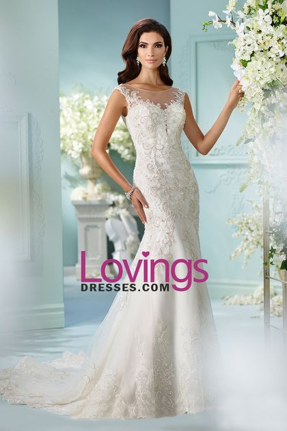 2016 Wedding Dresses Mermaid Scoop Tulle With Applique And Beads