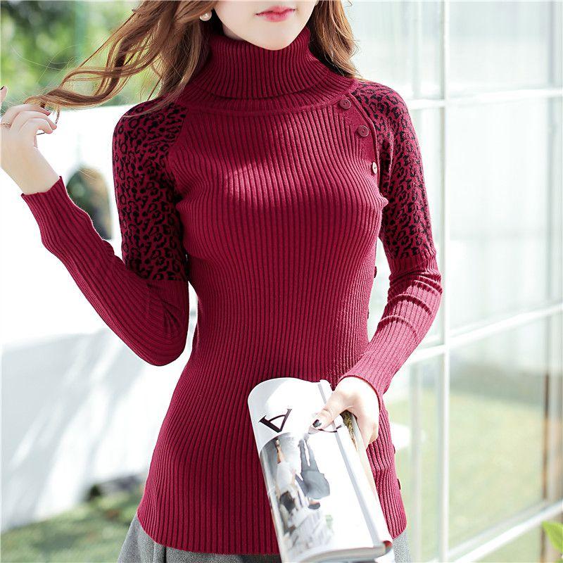 Aliexpress.com  Comprar Damas de otoño de cuello alto suéter delgado medio  largo de manga larga camisa básica femenina del suéter del otoño del todo  fósforo ... 8c3ba0cf02651