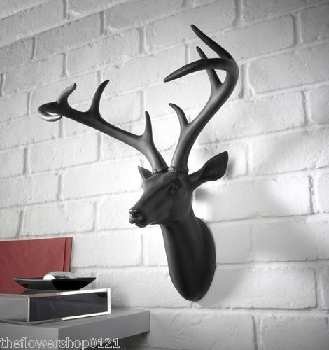Contemporary White Stag Black Stag Deer Head Stag trophy Head 3D Wall Art 43cm   eBay