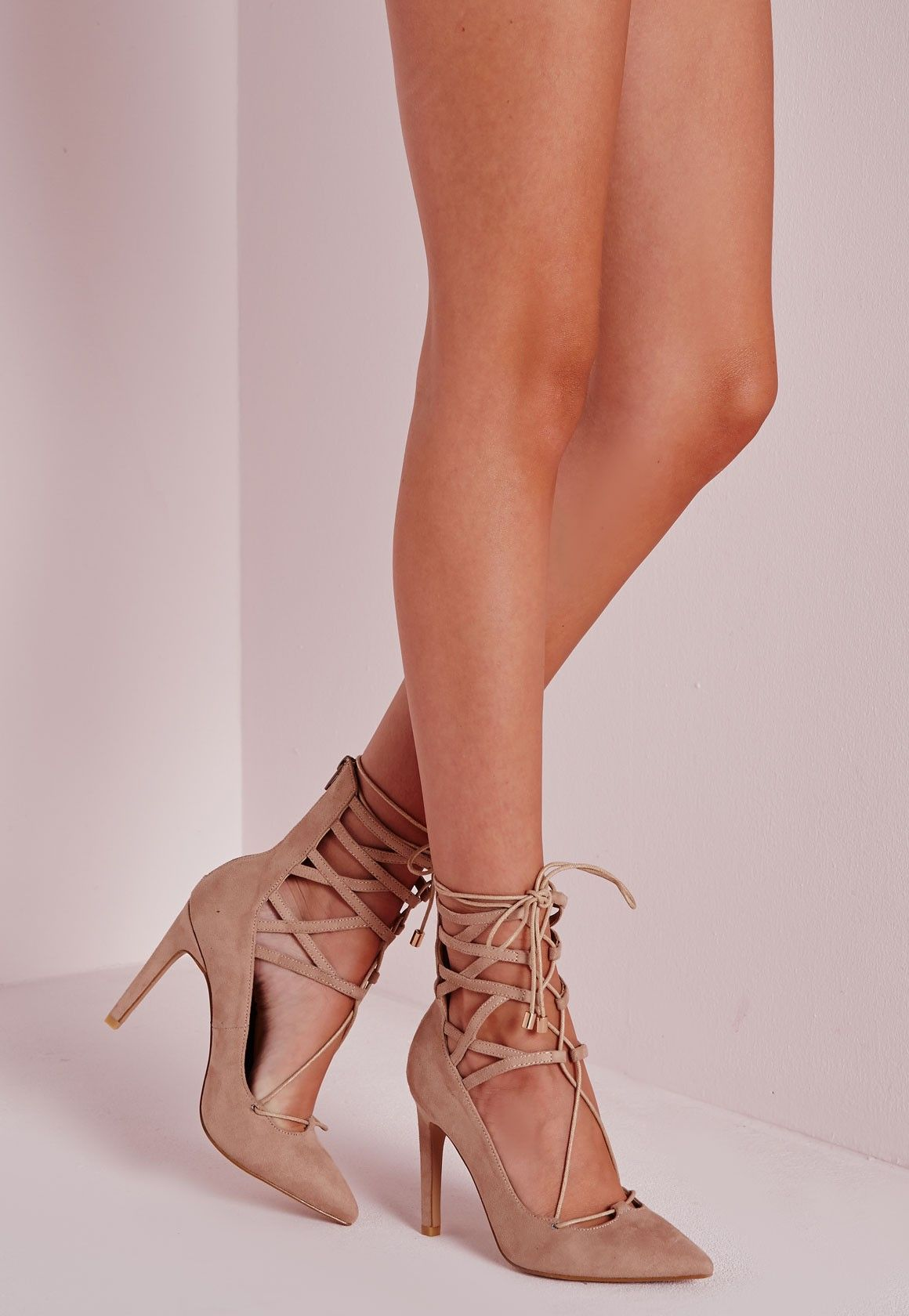 Missguided - Lace Up Stiletto Heeled Shoes Nude | lace up shoes ...