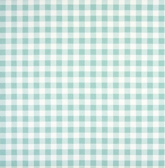 Aqua Blue Gingham Check Fabric By The Yard Designer Cotton Drapery
