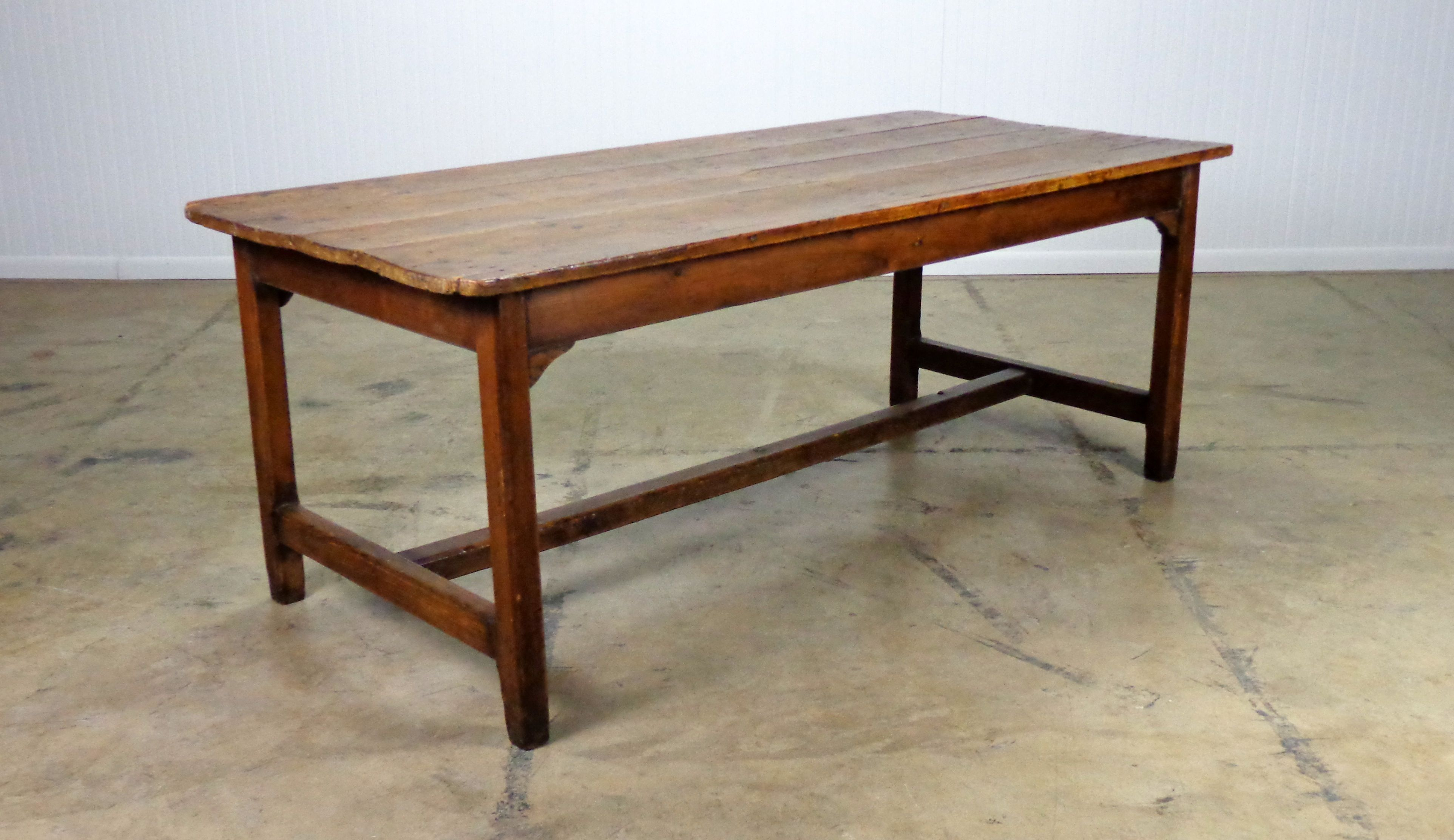 Antique Farm Dining Table Plank Top Made Of Pine And Oak