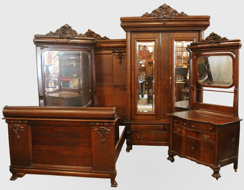 Antique Victorian Oak Bedroom Set 4 piece matching set