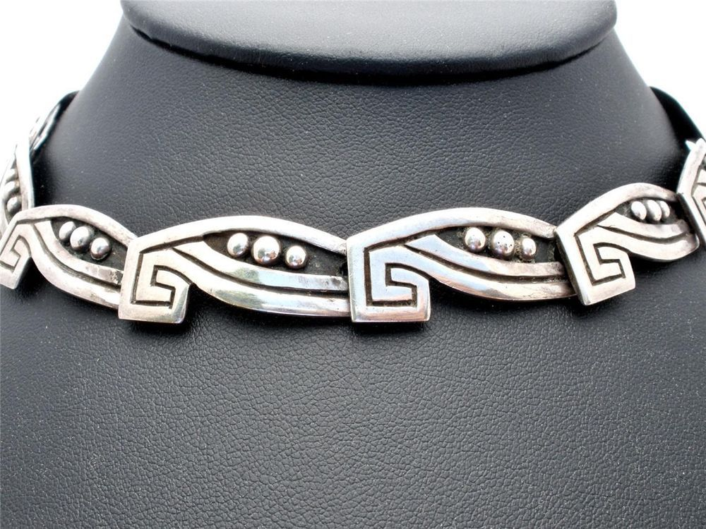 "Heavy Sterling Silver Taxco Vintage Necklace 56.7 Grs. 14.5"" Long Quality Mexico"