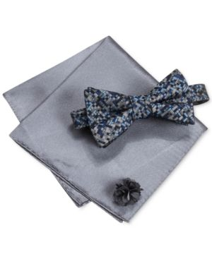 012c9b4e04e2 Alfani Men's Thompson Geo Bow Tie & Solid Pocket Square Set, Only at Macy's  - Blue