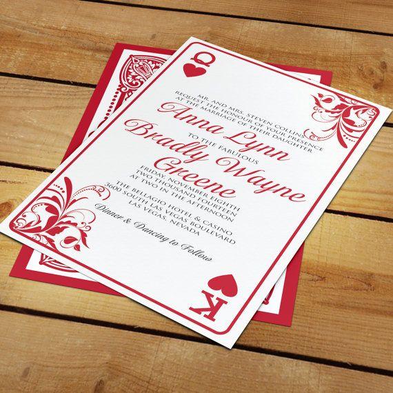 Casino Wedding Invitations: Anna Las Vegas Playing Card Wedding Invitation For Casino