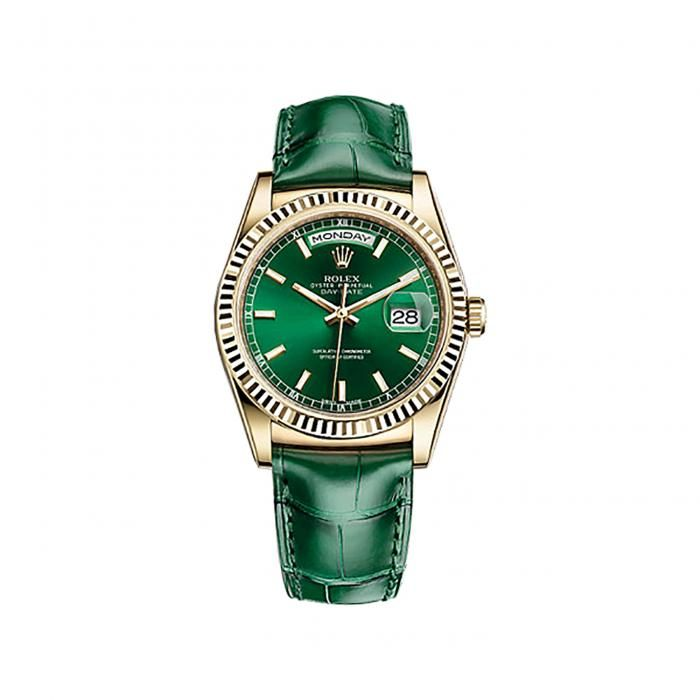Rolex Day-Date 36 118138 Gold Watch (Green)