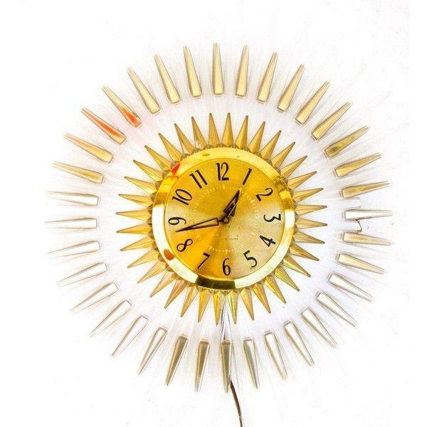 Mid-Century Modern Lucite Starburst Clock ($325) ❤ liked on ...