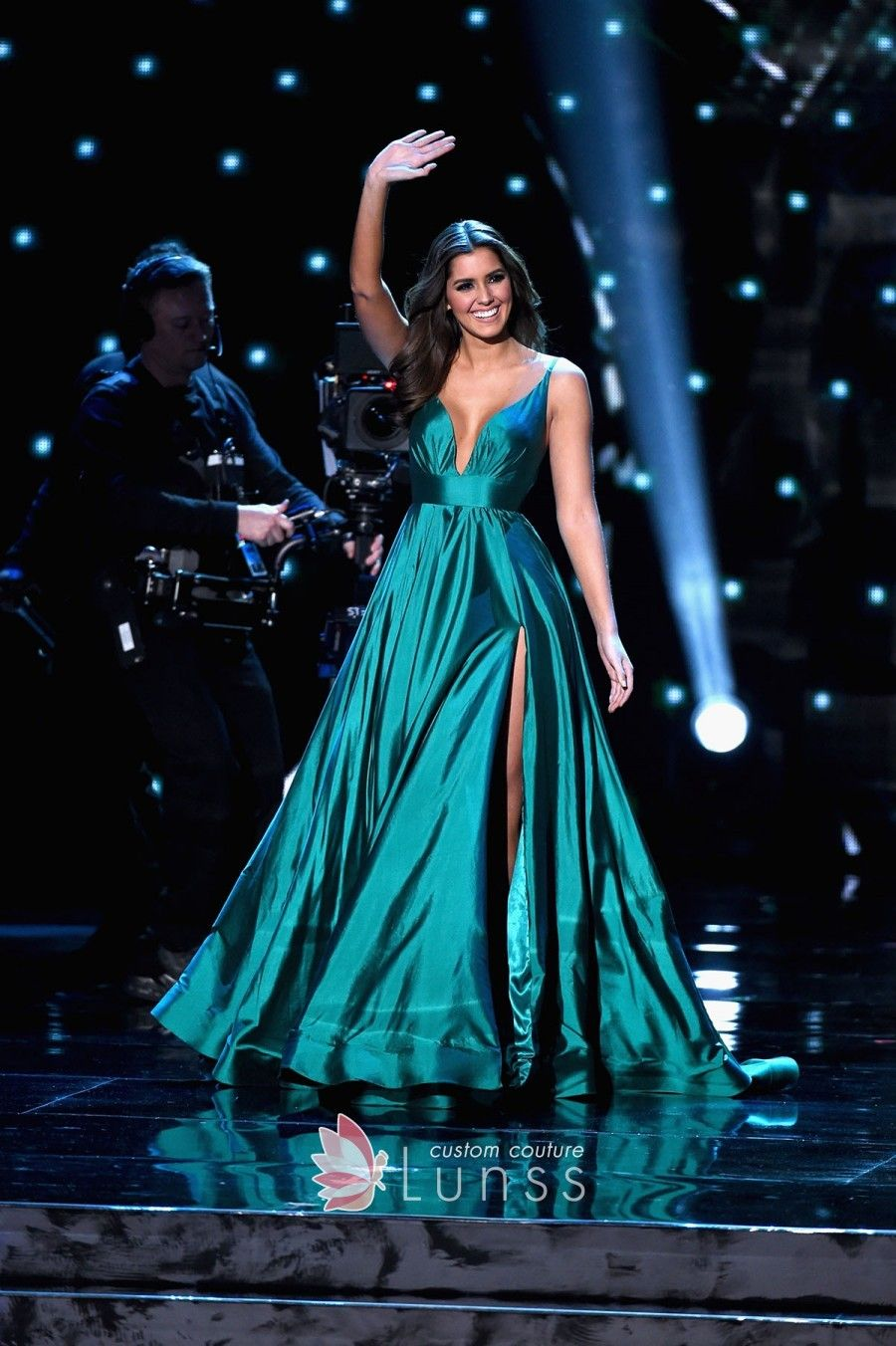 Paulina vega green curved plunging pageant prom ball gown with thigh