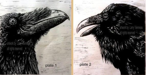 "Raven illustraties, Raven, kraai, reliëf print.  18 ""x 18"" op Thaise Kaso…"