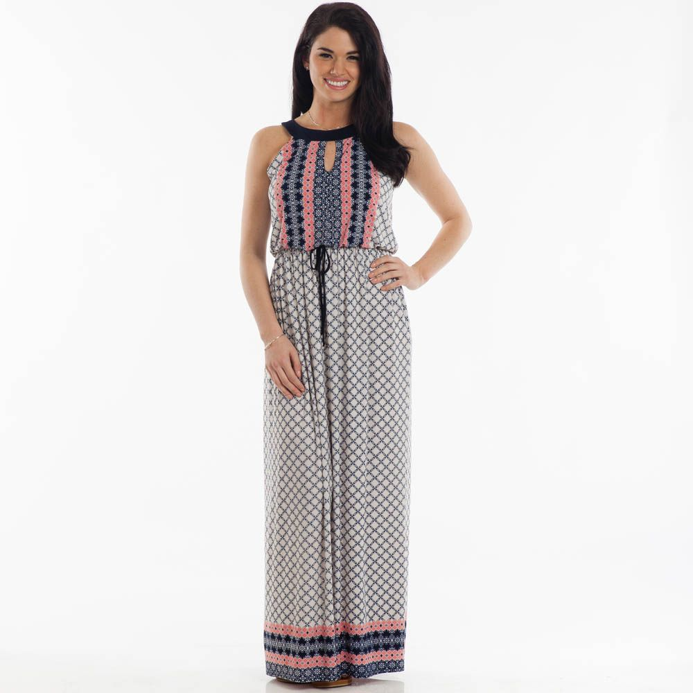 Patterned Maxi Dress in Navy and Pink | Paper, The o'jays and Dress in