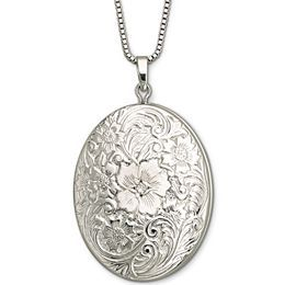 Fine Jewelry Sterling Silver Floral Frame Locket