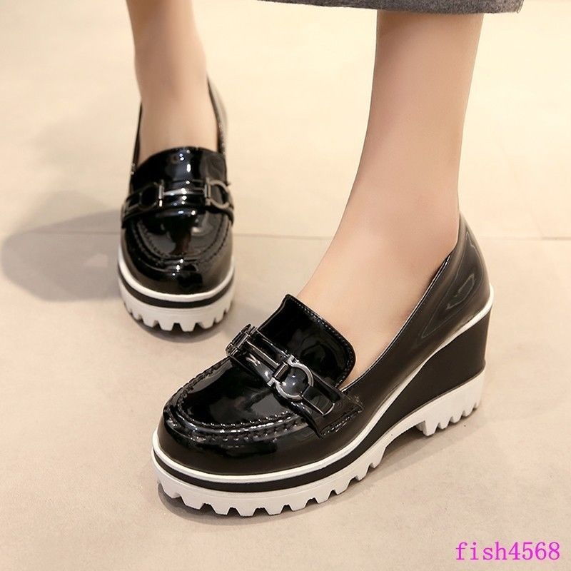 Creepers Womens Punk Platform Loafers Wedge Heels Sneakers College Casual  Shoes