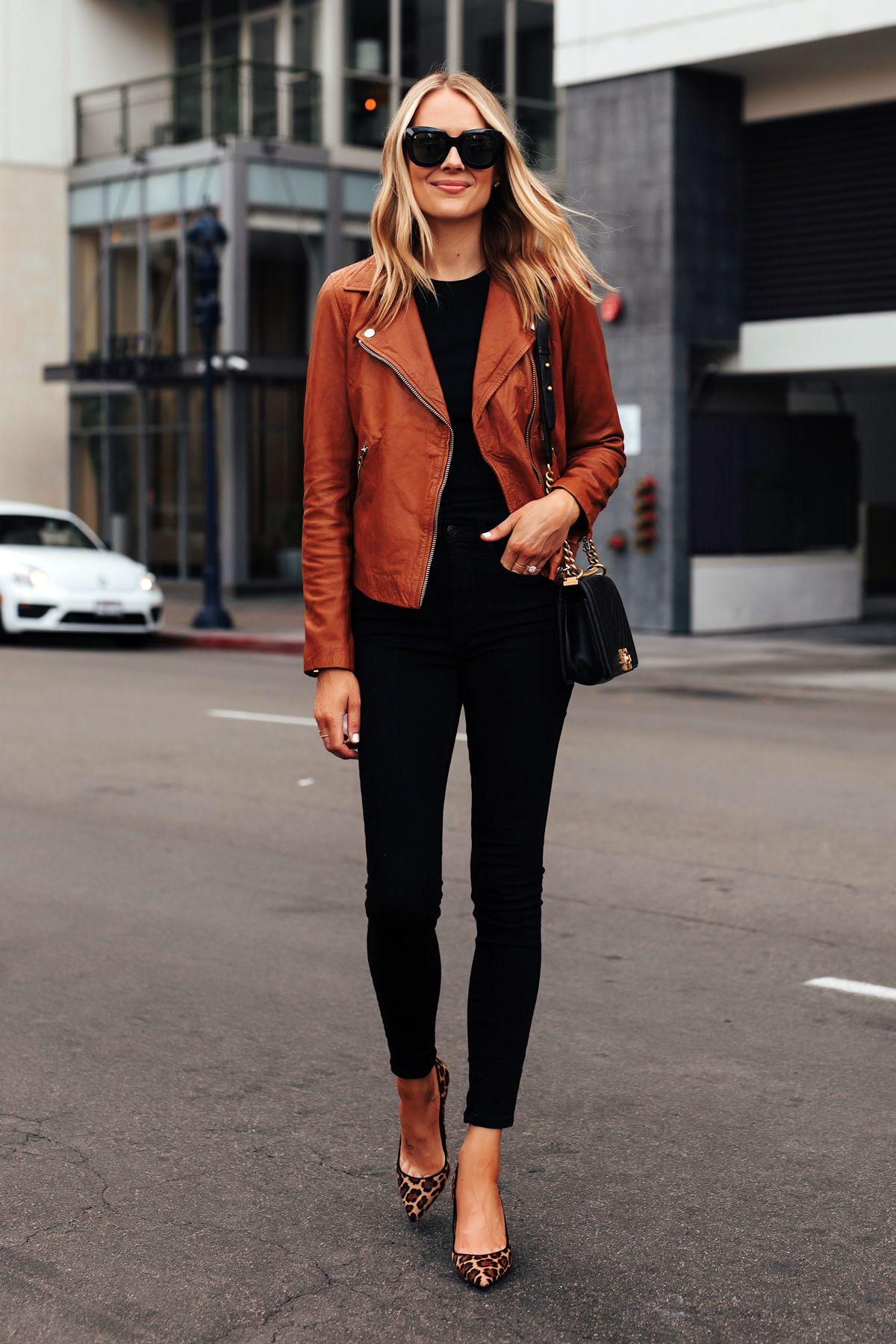 Fashion Jackson Wearing Madewell Tan Leather Jacket Black Tshirt Black Skinny Jeans Leopard Pumps Chanel Black H Fashion Jackson Leather Jacket Outfits Fashion [ 1800 x 1200 Pixel ]