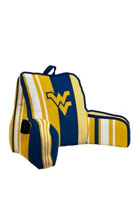 Pegasus Sports Ncaa West Virginia Mountaineers Varigated Stripe Back Rest With Cording And  Side Pocket - Blue #westvirginia