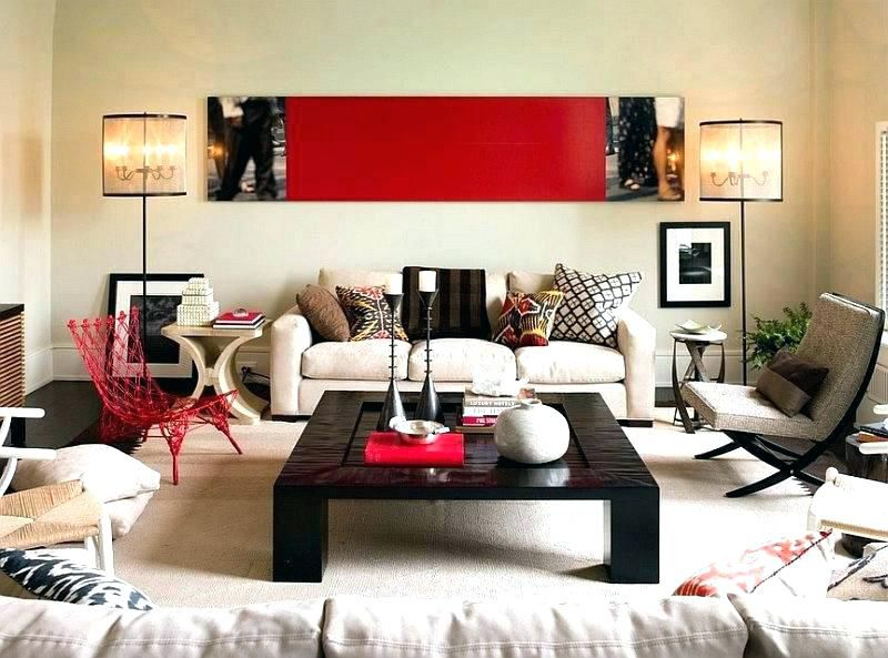 Contemporary Living Room With Red Accent Wall Living Room Red Red Accents Living Room Contemporary Living Room Red