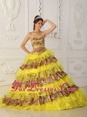 75e9720272 The Most Popular Yellow Quinceanera Dress Strapless Sweep  Brush Train  Leopard and Organza Ruffles A-Line   Princess