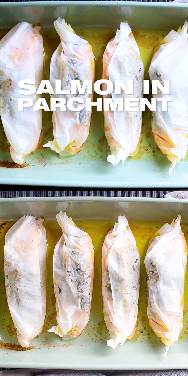 Salmon in Parchment Paper with Herbs #seafooddishes